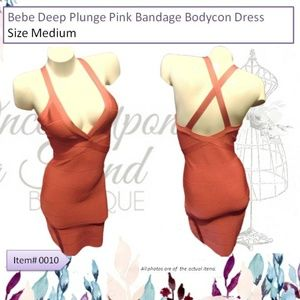 bebe Deep Plunge Pink Bandage Bodycon Dress Size M